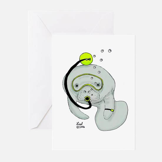 SCUBA Manatee Greeting Cards (Pk of 10)