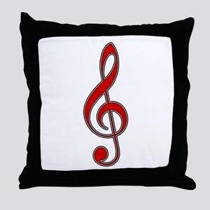 Retro Red Treble Clef Throw Pillow