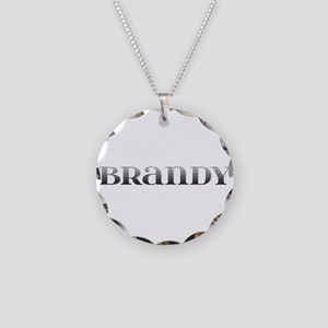 Brandy Carved Metal Necklace Circle Charm