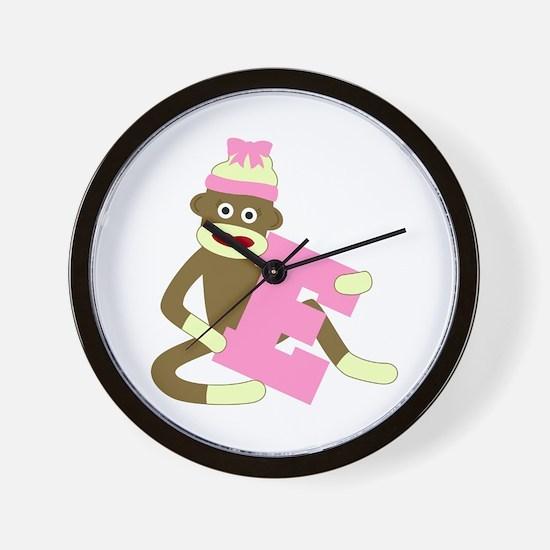 Sock Monkey Monogram Girl E Wall Clock