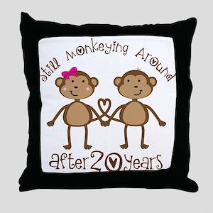 20th Anniversary Love Monkeys Throw Pillow