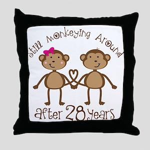 28th Anniversary Love Monkeys Throw Pillow