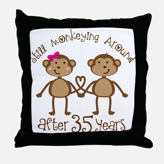 35th Anniversary Love Monkeys Throw Pillow