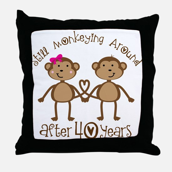 40th Anniversary Love Monkeys Throw Pillow
