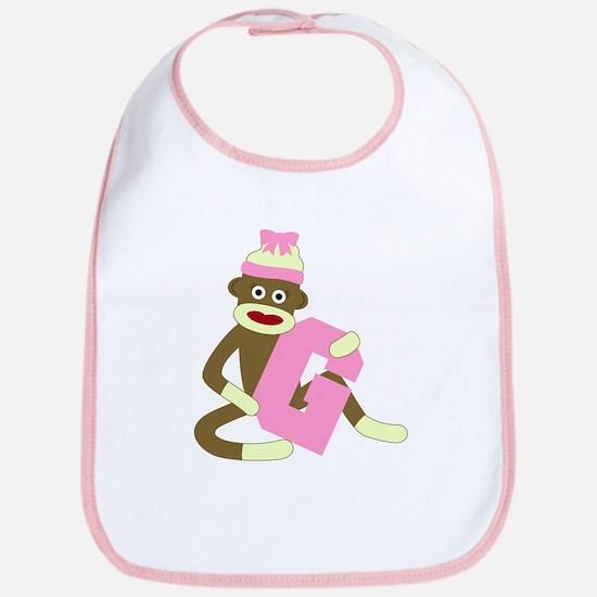 Sock Monkey Monogram Girl G Baby Bib