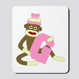 Sock Monkey Monogram Girl G Mousepad