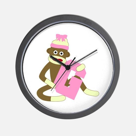 Sock Monkey Monogram Girl G Wall Clock