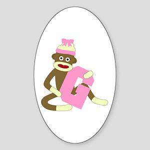 Sock Monkey Monogram Girl G Sticker (Oval)