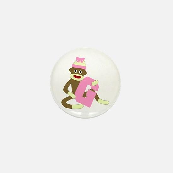 Sock Monkey Monogram Girl G Mini Button
