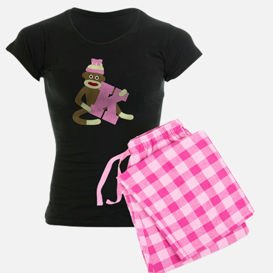 Sock Monkey Monogram Girl K Pajamas