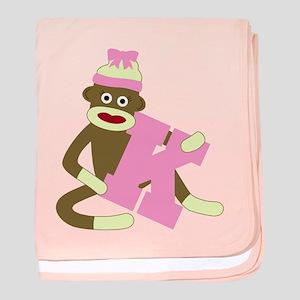 Sock Monkey Monogram Girl K baby blanket