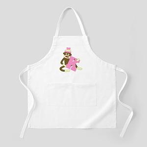 Sock Monkey Monogram Girl K Apron