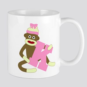 Sock Monkey Monogram Girl K Coffee Mug