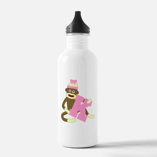 Sock Monkey Monogram Girl K Water Bottle
