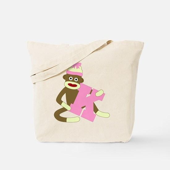 Sock Monkey Monogram Girl K Tote Bag