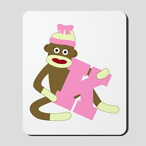 Sock Monkey Monogram Girl K Mousepad