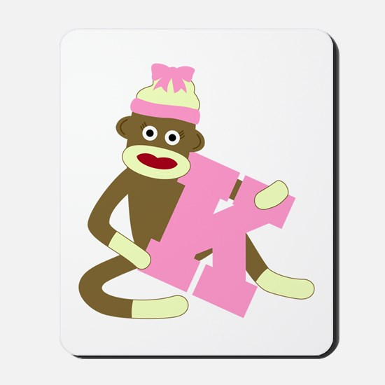 Sock Monkey Monogram Girl K Mousepad