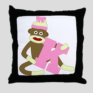 Sock Monkey Monogram Girl K Throw Pillow