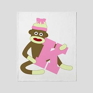 Sock Monkey Monogram Girl K Throw Blanket