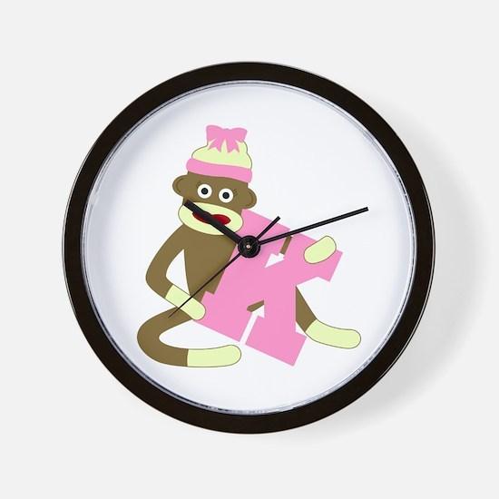 Sock Monkey Monogram Girl K Wall Clock