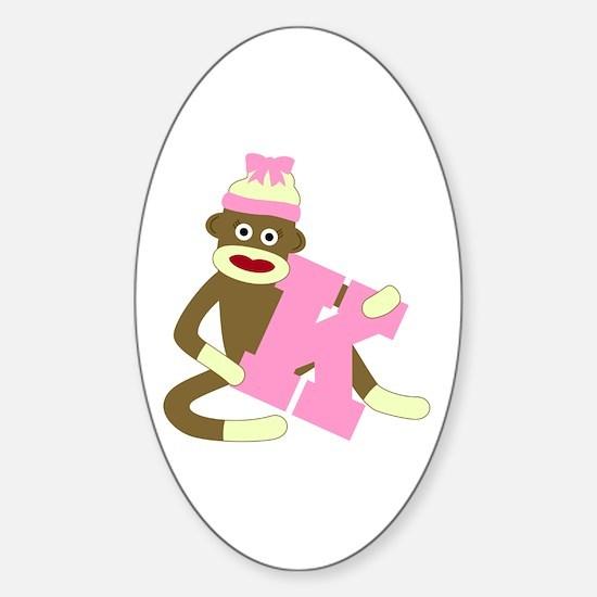 Sock Monkey Monogram Girl K Sticker (Oval)