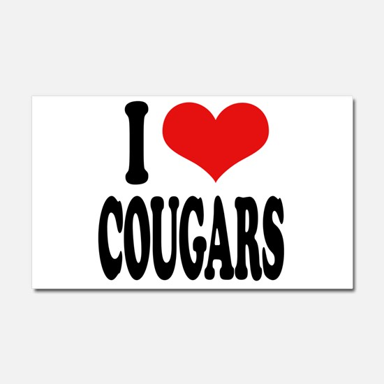 I Love Cougars Car Magnet 20 x 12
