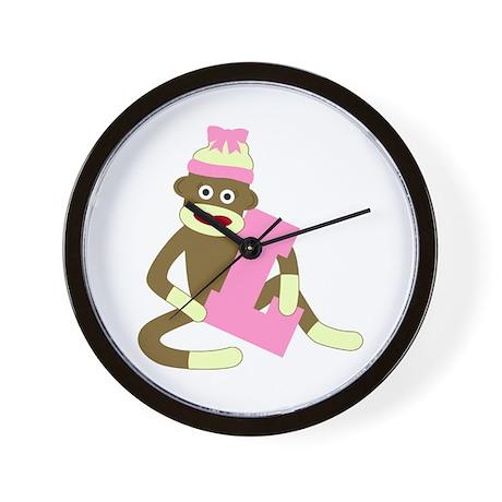 Sock Monkey Monogram Girl L Wall Clock