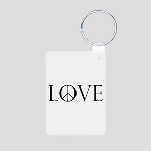 Love Peace Sign Aluminum Photo Keychain