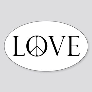 Love Peace Sign Sticker (Oval)