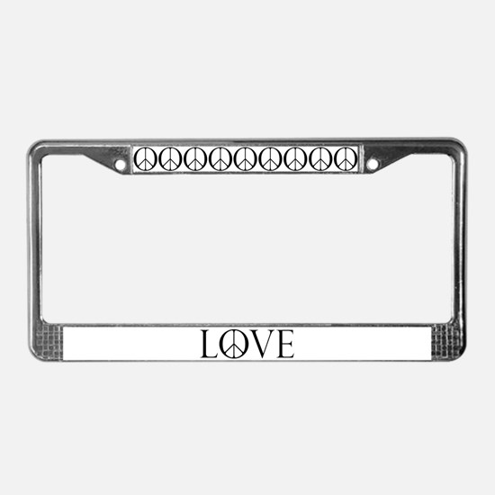 Love Peace Sign License Plate Frame