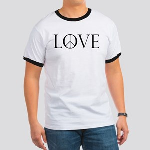 Love Peace Sign Ringer T