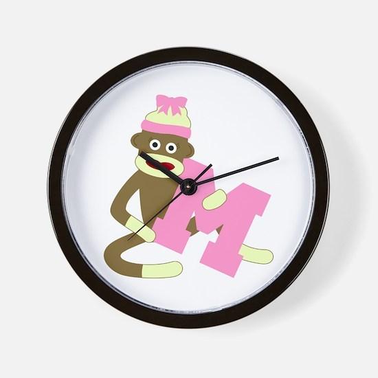 Sock Monkey Monogram Girl M Wall Clock
