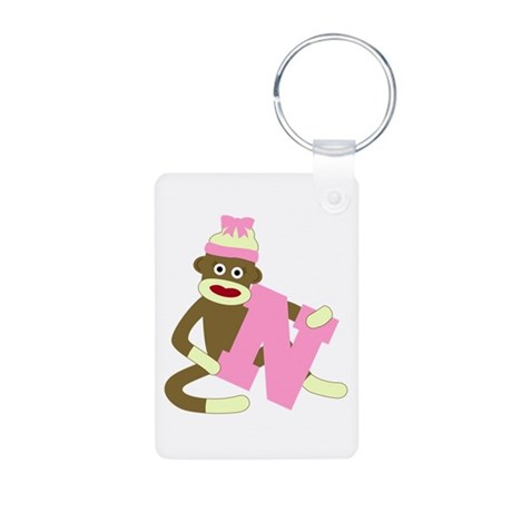 Sock Monkey Monogram Girl N Aluminum Keychain