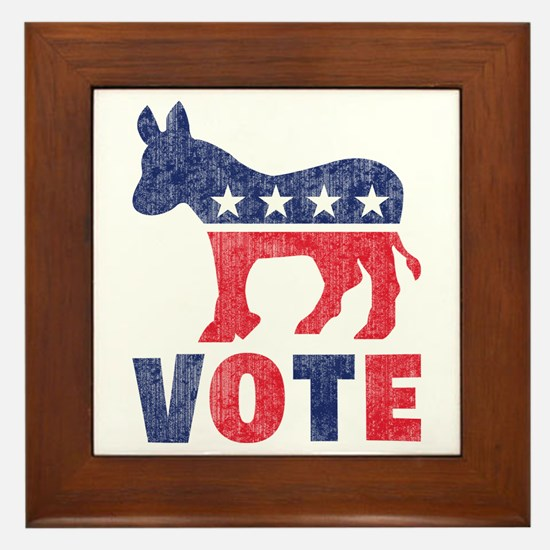 Democrat Vote 2 Framed Tile