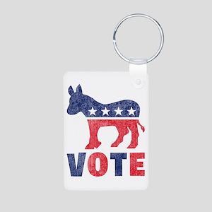 Democrat Vote 2 Aluminum Photo Keychain