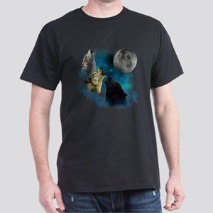 Northern Lights Wolfs Howling Dark T-Shirt