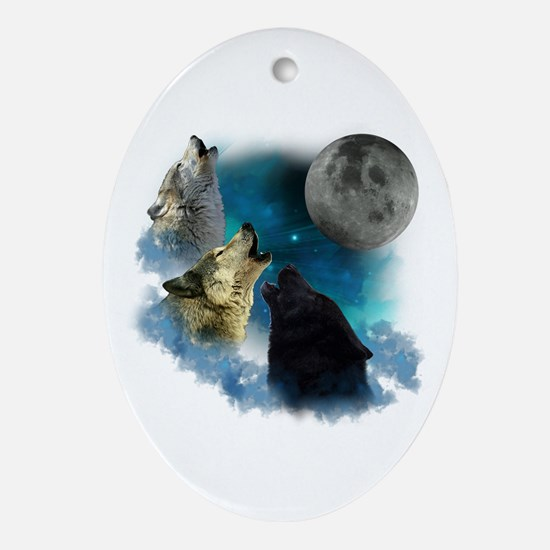 Northern Lights Wolfs Howling Ornament (Oval)