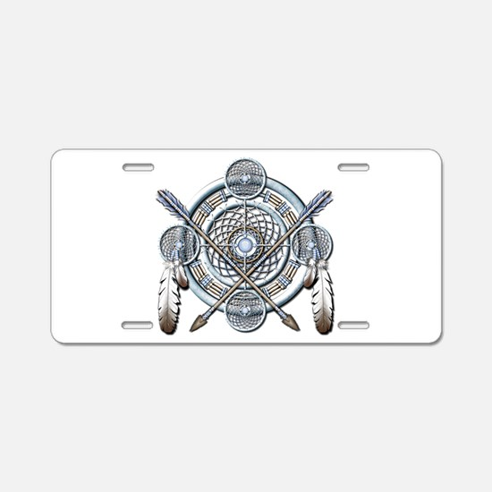Winter Blue Dreamcatcher Aluminum License Plate