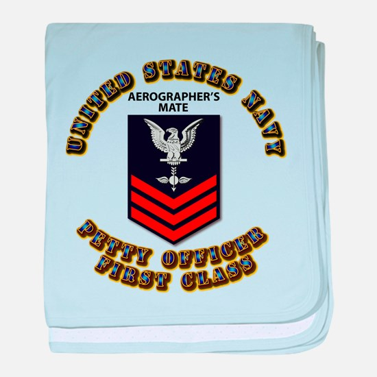 US Navy - Rank - AG - PO1 with Text baby blanket