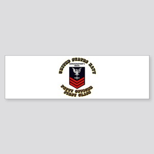 US Navy - Rank - AG - PO1 with Text Sticker (Bumpe