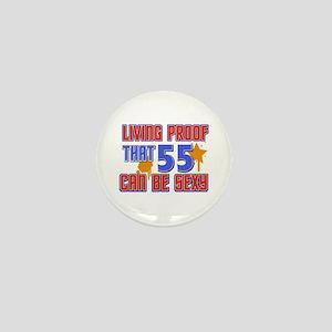 Cool 55 year old birthday design Mini Button