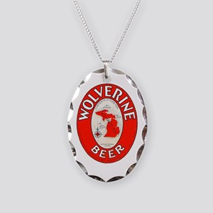 Michigan Beer Label 1 Necklace Oval Charm