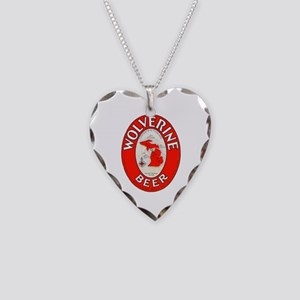 Michigan Beer Label 1 Necklace Heart Charm