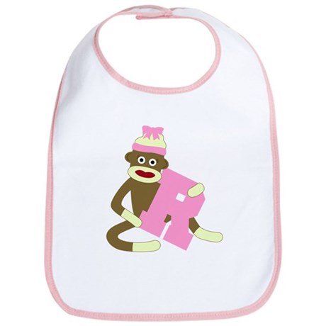 Sock Monkey Monogram Girl R Baby Bib