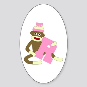 Sock Monkey Monogram Girl R Sticker (Oval)