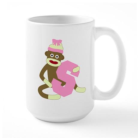 Sock Monkey Monogram Girl S Large Coffee Mug