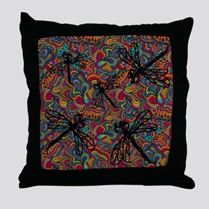 Hippy Dragonfly Flit Throw Pillow