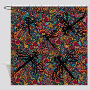 Hippy Dragonfly Flit Shower Curtain
