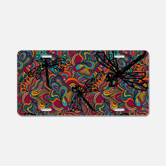 Hippy Dragonfly Flit Aluminum License Plate