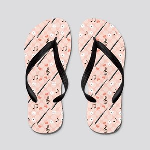 Flute Flip Flops With Music Notes